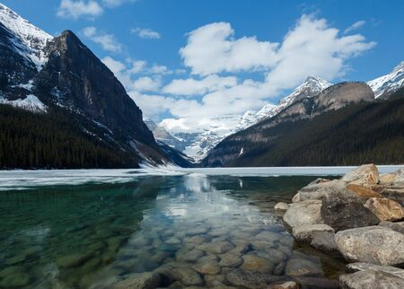 Lake Louse and mountains High resolution wide angle