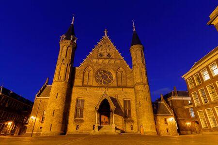 Den Haag, Netherlands - Circa 2019 : Binnenhof Parliamentary building at night Editorial