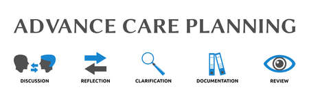 "Banner on the theme: ""Advance Care Planning"" with icons. Isolated against a white background."