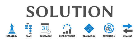 """Banner on the theme: """"Solution"""" with symbols. Isolated against a white background."""