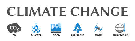 """Banner on the theme: """"Climate Change"""" with symbols. Isolated against a white background."""