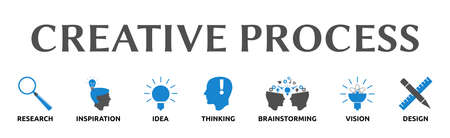 "Banner on the theme: ""Creative Process"" with icons. Isolated against white background."