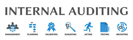 Internal auditing. Banners with icons and keywords. Management, planning, validating, evaluating, acting, testing, revisiting. Isolated against a white background.