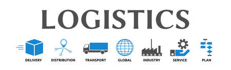 Logistics. Banners with icons and keywords. Delivery, Distribution, Transport, Global, Industry, Service, Plan. Isolated against a white background.