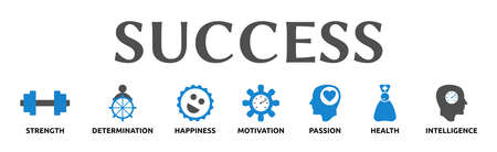 Success. Banners with icons and keywords. Strength, Determination, Happiness, Motivation, Passion, Health, Intelligence. Isolated against a white background. Standard-Bild