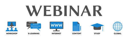 Webinar. Banners with icons and keywords. Workshop, e-learning, internet, content, study, global. Isolated against a white background.