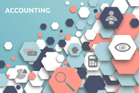 Accounting. Banner with icons.