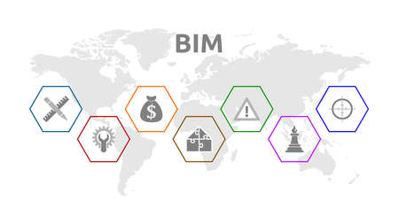 BIM (Building Information Modeling). Banner with icons.