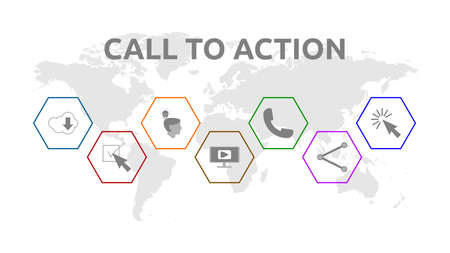 Call to Action. Banner with icons. Download, Share, Learn More, Watch Our Video, Contact Us, Subscribe, Click Here.