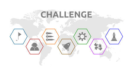 Challenge. Banner with icons. Goal, Support, Preparation, Success, Motivation, Mission.