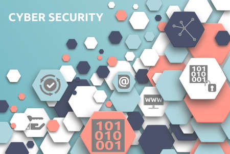 Cyber security. Banner with icons. Network, Encrypt, Access, Data, Computer, Application, Recovery.