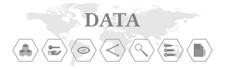 Data. Banner with icons. Storing, accessing, visualizing, sharing, analyzing, sorting, reporting.