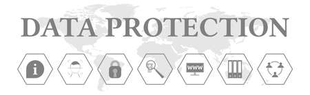 Data protection. Banner with icons. Information, privacy, security, control, internet, records, personal.
