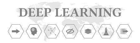 Deep learning. Banner with icons. Input, Neuronal, Network, Hidden, Layer, Output.