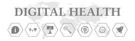 Digital health. Banner with icons. Information, communication, telemedicine, diagnosis, rehabilitation. Banque d'images