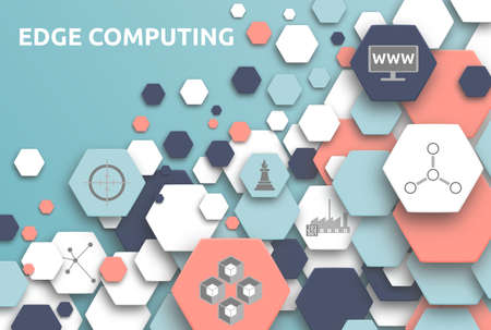 Edge computing. Banner with icons. Computing, Decentralized, Network, Edge, Industry 4.0.