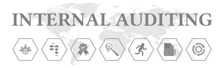 Internal auditing. Banner with icons. Management, planning, validating, evaluating, acting, testing, revisiting.