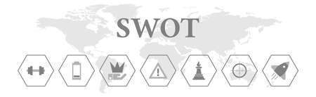 SWOT. Banner with icons. Strengths, Weaknesses, Opportunities, Threats. Standard-Bild