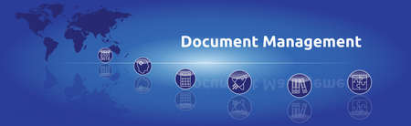 Banner on the topic: Document Management. Graphic representation with icons.