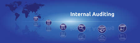 Banner on the topic: Internal Auditing. Graphic representation with icons.