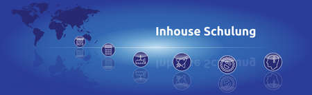Banner on the topic: In-house training. Graphic representation with icons.
