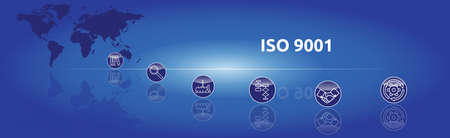 Banner on the topic: ISO 9001. Graphic representation with icons.