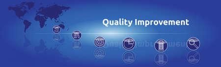 Banner on the theme: Quality Improvement. Graphic representation with icons.