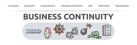 """Banner on the theme: """"Business Continuity"""" with text and hand-drawn icons. Isolated against a white background. For presentation, script or website. Stock Photo"""
