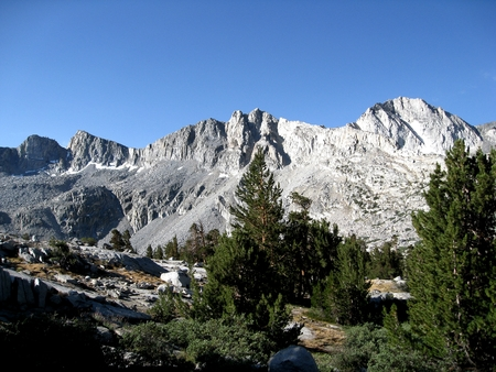 muir: Title: Middle Dusy Basin Location: Middle Dusy Basin is in the Sierra Nevada Mountains of California. When approaching the John Muir Trail from the eastern Sierra, a popular lateral is to start at South Lake (west of Bishop, CA) and hike over Bishop Pass.