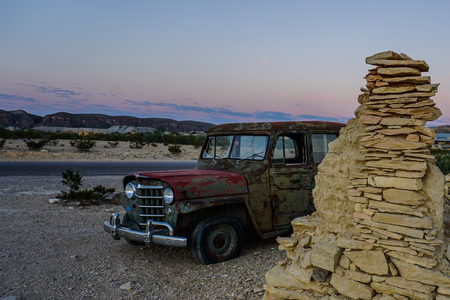 jalopy: Abandon Car in Terlingua Texas Ghost Town broke minning Stock Photo
