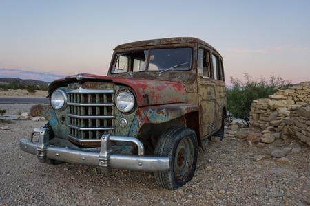 rusty car: Abandon Car in Terlingua Texas Ghost Town broke minning Stock Photo