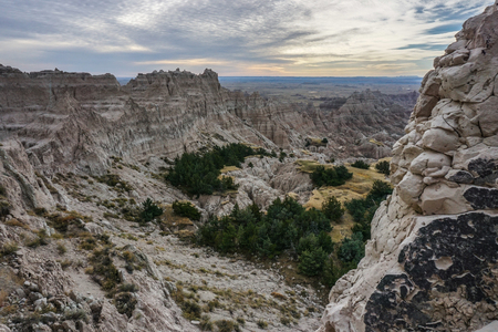 rugged terrain: Rugged Terrain at Badlands National Park trail Stock Photo
