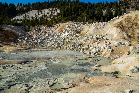 hydrothermal: Bumpass hell at lassen volcanic national park, California
