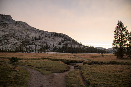john muir trail: Yosemite in summer during sunset along john muir trail
