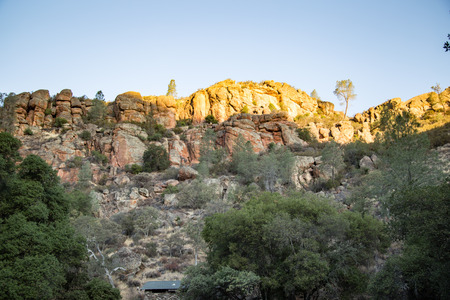chaparral: Pinnacles National Park california high peaks hiking trail Stock Photo