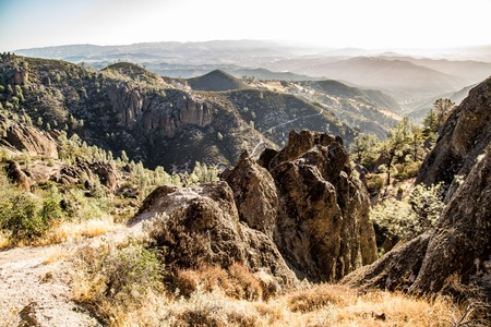 fissures: Pinnacles National Park california high peaks hiking trail Stock Photo