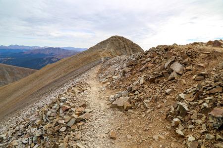 longs peak: lincolin camorn bross democrat Colorado 14er in the Rockies Stock Photo