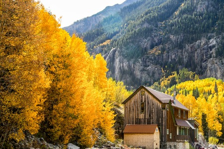 ouray: Old barn Ouray CO fall mountians leaves turning color yellow