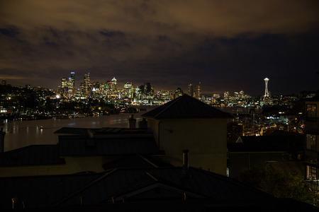 nightview: Beautiful nightview of seattle washington skyline cityscape Stock Photo