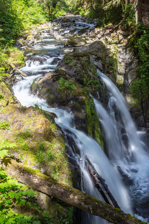 sol duc river: Sol Duc Falls in Olympic National Park in Summer Stock Photo