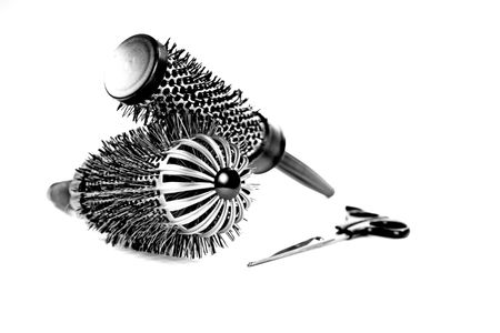 hairdressing scissors: Black and White Hairbrushes