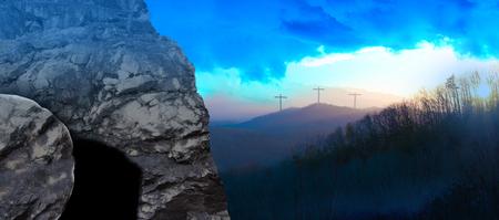 Panorama - Das Grab Jesu bei Sonnenaufgang Standard-Bild - 95258790