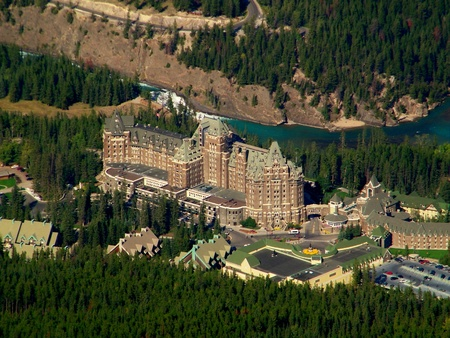 Banff Springs Hotel From High Above