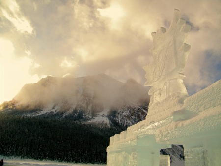 louise: Ice scuplture at Lake Louise