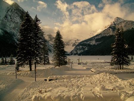 louise: Winter At Lake Louise Stock Photo