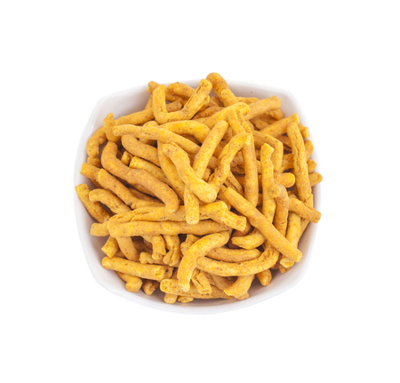 sev: Sev is a popular Indian snack food consisting of small pieces of crunchy noodles made from chickpea flour paste, which are seasoned with turmeric, cayenne, and ajwain before being deep-fried in oil.
