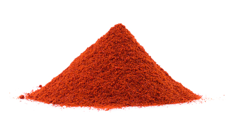 Heap of Red Chilli Pepper Powder Also Know as Mirchi, Mirchi Powder, Lal Mirchi, Mirch or Laal Mirchi isolated on White Background Stock Photo