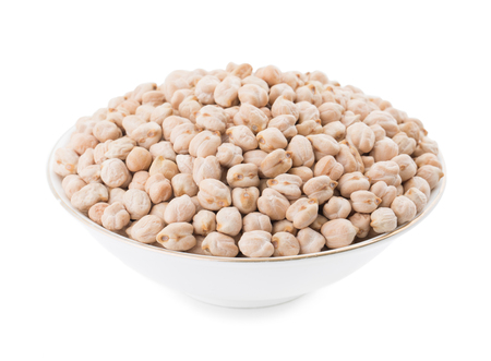 Dried Chick Pea Also Know as Kabuli Chana, Garbanzo, Bengal Gram, Cicer Arietinum, Garbanzo Bean or Chickpea Isolated on White Background