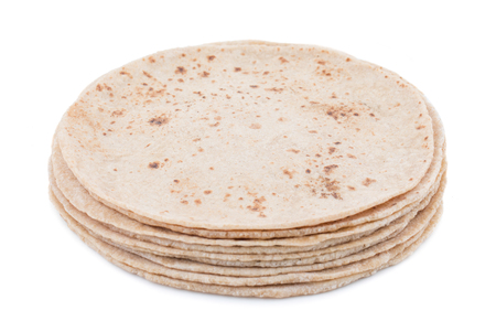 Indian Traditional Cuisine Chapati Also Know as Roti, Fulka, Paratha, Indian Bread, Flatbread, Whole Wheat Flat Bread, Chapathi, Wheaten Flat Bread, Chapatti, Chappathi or Kulcha on White Background Stock Photo