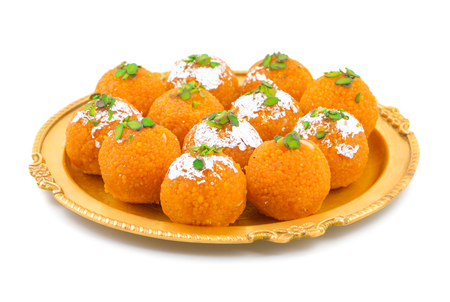 Indian Sweet Motichoor laddoo Also Know as Bundi Laddu or Motichur Laddoo Are Made of Very Small Gram Flour Balls or Boondis Which Are Deep Fried Stock Photo